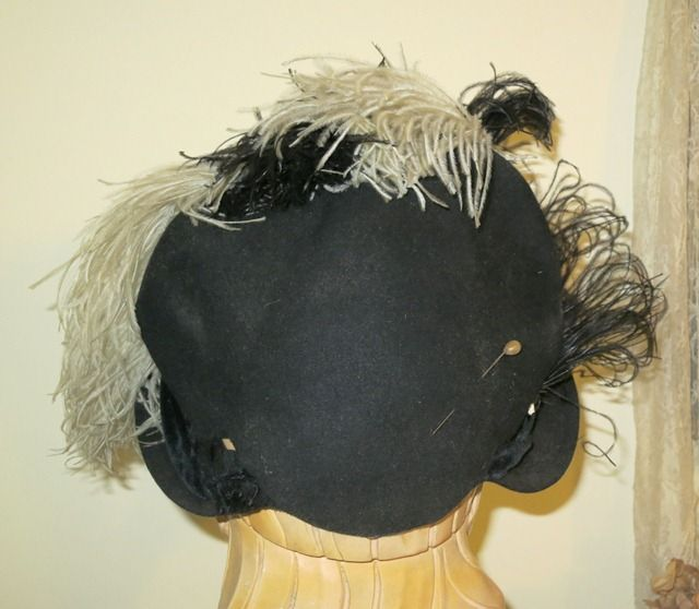 Vintage 1940s Black Felt Tilt Hat with large black and white Feathers