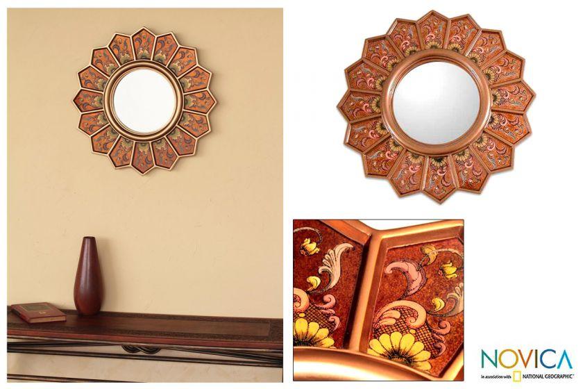 GOLD DAISIES~Reverse Painted Glass Wall Mirror~PERU Art