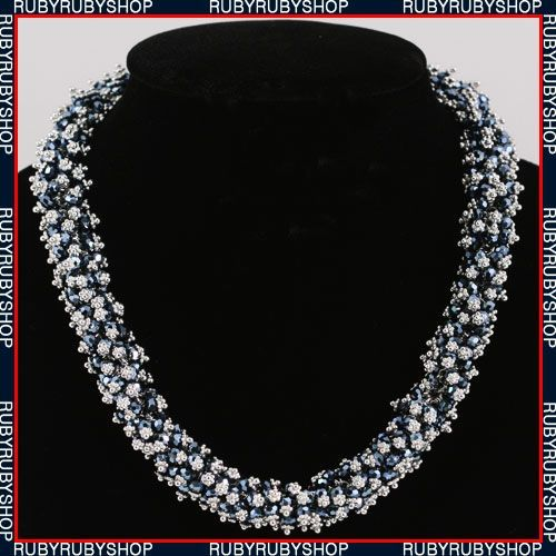 White Gold Plated Use SWAROVSKI Crystal Necklace N009