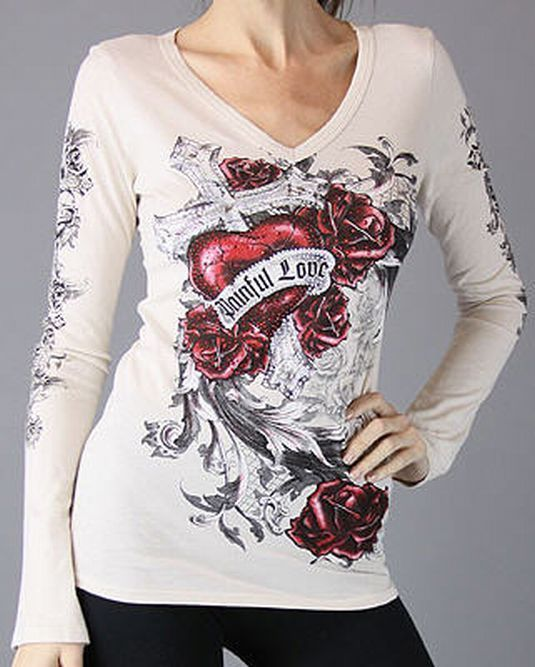 Scrolls Cross Heart White Painful Love Tattoo T Shirt Tee & Ed Hardy
