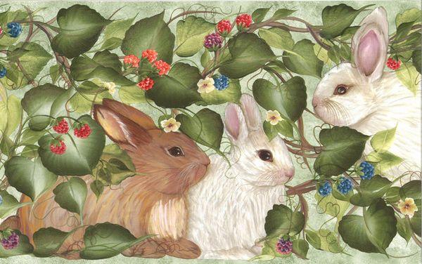 Garden Rabbits Donna Dewberry Wallpaper Border |
