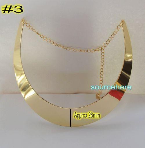 Womens Choker Gold Tone Pieces Collar Necklace Wedding Smooth Bib Ring