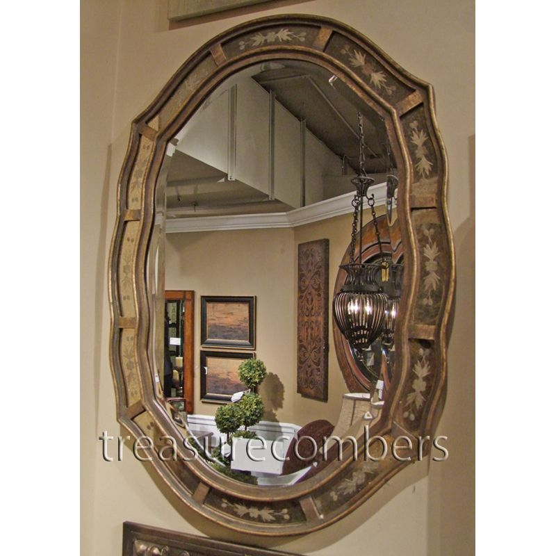 Etched Oval Wall Mirror Antiqued Gold Leaf Venetian Beveled Fifi