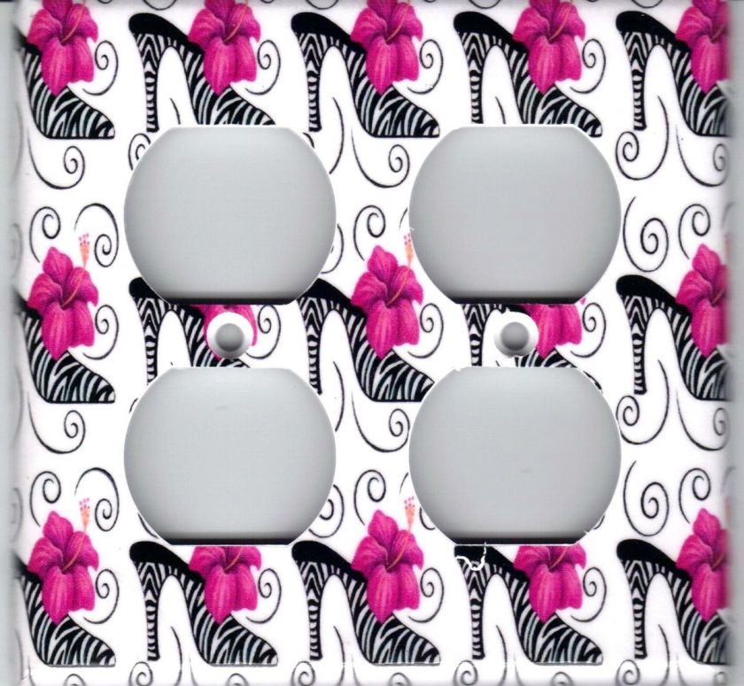 ZEBRA HIGH HEEL WITH PINK FLOWER DOUBLE OUTLET COVER