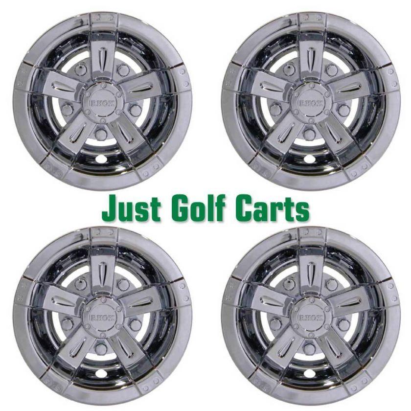 Chrome Finish 8 Snap On Golf Cart Wheel Covers/Set of 4/