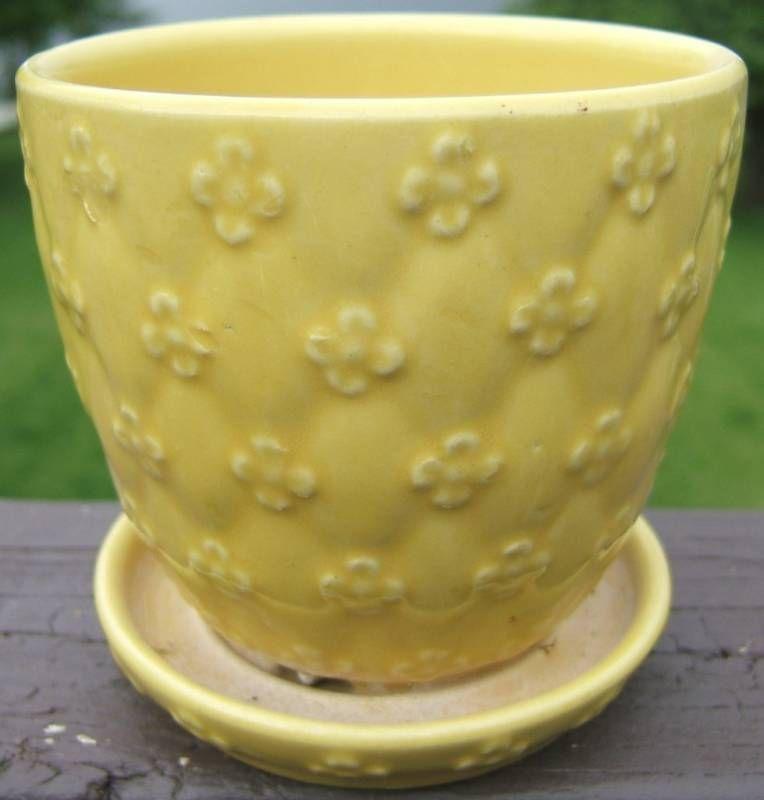 Vintage Yellow Planter Raised Flower Design USA 454