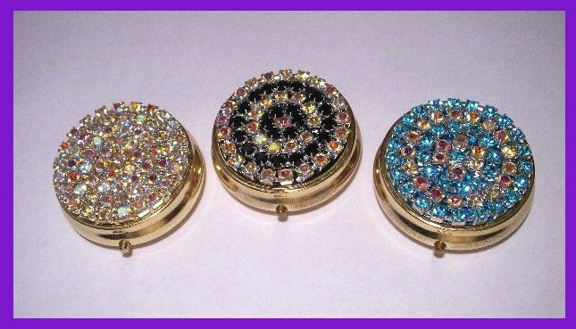 Lot of 3 Pill Box with Swarovski Crystal Rhinestones