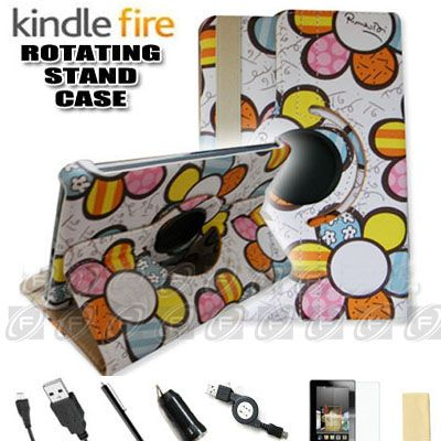 For Kindle Fire 360° Rotating Case Cover/Car Charger/USB Cable/Stylus