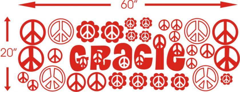 Custom Name peace sign Girls room Vinyl Wall Decal Sticker Art Decor